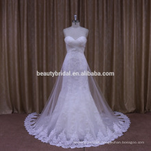 strapless design of wedding dress with soft tulle bridal gown